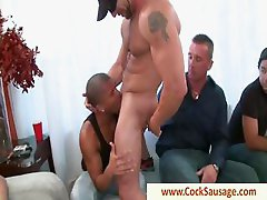 Muscled gay stripper getting sucked by group by cocksausage