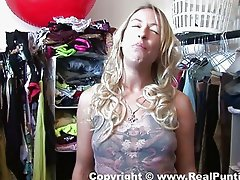 European blonde babe gets naked in the closet