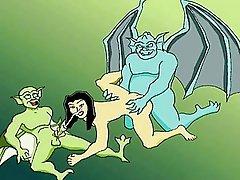 Famous Demona and gargoyles cartoon orgy