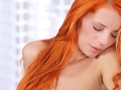 Redhaired busty beauty masturbate snatch