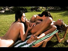 Lesbian Brunettes Have Outdoor Fun In A Sunny Day