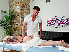 Small-titted Dakota Skye riding Seth Gamble's manhood vivaciously