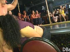 stripper entertains the sluts at the dance club