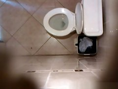 Hidden cam in public toilet ceiling