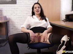 Tantalizing British secretary Samantha Bentley spreads legs and shows her pussy
