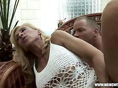 Bony Ash-Blonde Mature Mega-Slut Viana in Magnificent Fishnet Sundress Penetrates