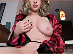 hot blonde milf teases while playing with her pussy