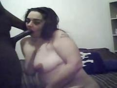 Chubby enjoying black cock on webcam