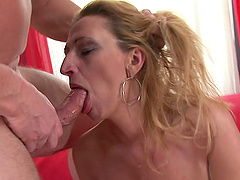 Dillon Day fucks Patris's hairy snatch and fills it with jizz