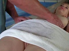 Emily was fucked by old man in massage room