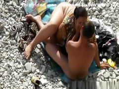 Wife rides and blows big cock at beach