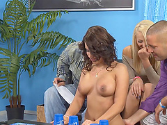 Splendid brunette and her blonde friend in the foursome adventure