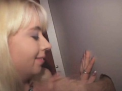 Blonde Amateur Girl Working Over Cock Through A Glory Hole
