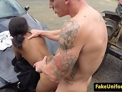 British ebony officer MMF trio fucked outdoor