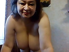 Big Russian woman shows her large boobs on webcam