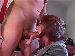 Horny redhead granny Loves To Fuck and suck big cocks