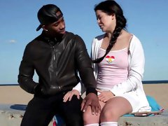 Young teen tries black inches in her shaved little holes