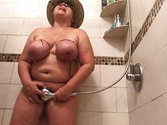 Masturbating with shower head