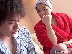 Busty Japanese housewife gets her cunt fingered to orgasm