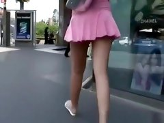 Sexy brunette chick short pink dress