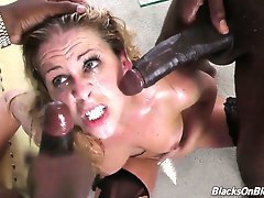Cum hungry whore Cherie Deville takes on several black cocks at a time