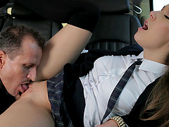 Alexis Crystal gets her twat licked and fucked doggy style in a car