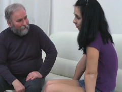 Juicy young honey enjoys getting old penis in pussy