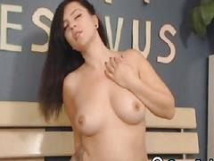 Horny Amateur Girl Solo Plays with Dildo on Cam