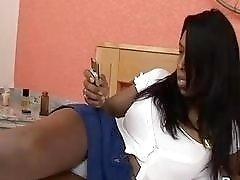 Black sissy boy gives a blowjob to hot latino boy