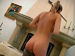 Horny Teen Masturbates In Front Of The Fireplace