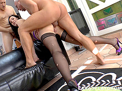 Older guys share a slutty housewife in a British threesome