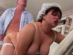 Fat nurse rims the patient and takes him in her pussy