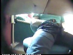 Mom caught masturbating under desk!