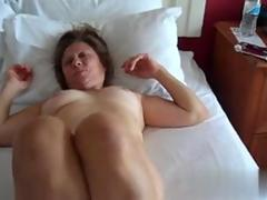 Chubby MILF sucking her hairy mans dick in 69