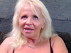 Mature blonde granny in lingerie finds herself a younger dick to fuck