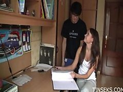 Incredibly Hot Russian Teen Fucking a Geek To Avoid Doing Homework