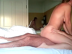 Сheating amateur milf fucks lover in hotel room
