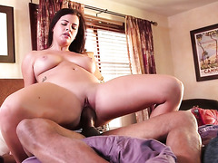 Happy and delightful busty Keisha Gre rides strong BBC on top