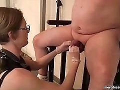 Masked fat pig cock teased by freaky femdom mistress BDSM