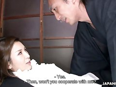 Beautiful personal Japanese secretary Mai Kuroki gets nailed in standing pose