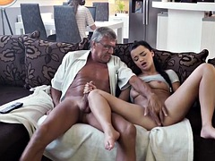 old and young lovers have spontaneous sex