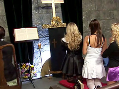 Lovely babes have group fuck in the church