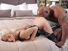 Perfect blonde Emma Hix sits on a big black cock