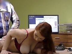 In order to get a loan busty redhead Isabella wanks and sucks debtor's dick