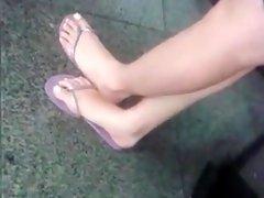Foot in purple slippers