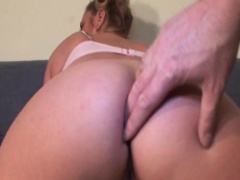 Blonde horny mature gets finger fucked