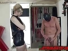 Masked freak enjoys manual pain with BDSM leather wearing mistress