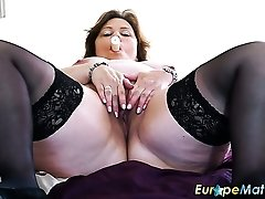 Chubby mature whore Tiger is totally into rubbing her bald pussy