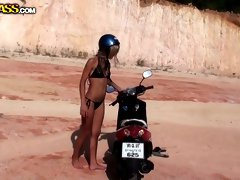 Kinky blond biker with nice tits Tiffany gets fucked from behind in desert