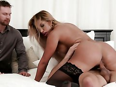 Gagged blonde beauty Mercedes Carrera gets nailed in front of her cuckold